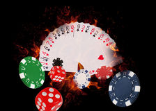 Playing cards and casino chips on fire. poker concept Royalty Free Stock Image