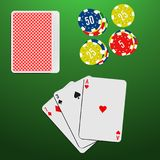 Playing cards and casino chips on a green gambling table. Blackjack game combination. Vector illustration Royalty Free Stock Photos