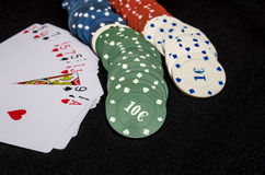 Playing cards  and casino chips isolated Royalty Free Stock Photography