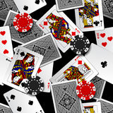 Playing cards and casino chips seamless pattern background Royalty Free Stock Images