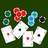 Playing cards with casino poker chips Royalty Free Stock Image