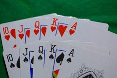 Playing cards, casino poker full house Royalty Free Stock Photography