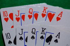 Playing cards, casino poker full house royalty free stock image