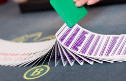 Playing cards on casino table Stock Photography