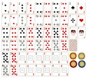 Playing cards & chesspieces stock photo