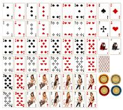 Playing cards & chesspieces royalty free stock photography