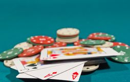 Playing cards and chips Stock Photography