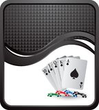 Playing cards and chips on black checkered wave Royalty Free Stock Image