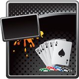 Playing cards and chips on black halftone banner Stock Image