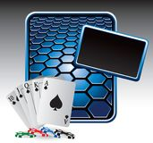 Playing cards and chips on blue hexagon ad Royalty Free Stock Image
