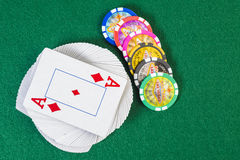 Playing cards and chips Royalty Free Stock Images