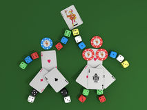 Playing cards, chips and dice Stock Photos