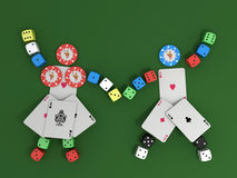 Playing cards, chips and dice Royalty Free Stock Photo