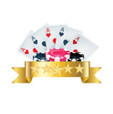 Playing cards with chips and golden ribbon Royalty Free Stock Photography