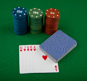 Playing-cards and chips Royalty Free Stock Photo