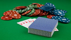 Playing-cards and chips Stock Images