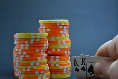 Playing cards and chips Royalty Free Stock Photos