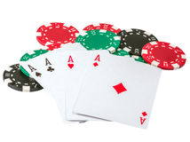 Playing cards with chips Royalty Free Stock Images