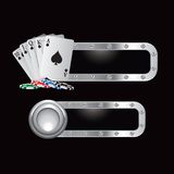 Playing cards and chips on metal banners Royalty Free Stock Photography