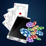Playing cards and smartphone vector illustration