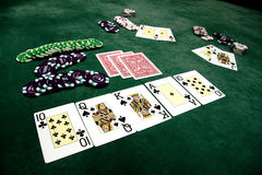 Playing cards and chips on a table Royalty Free Stock Photography