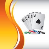Playing cards and chips on vertical wave backdrop Stock Images