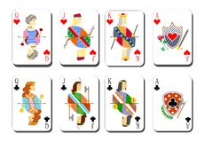 Playing cards chirwa clubs Stock Photos