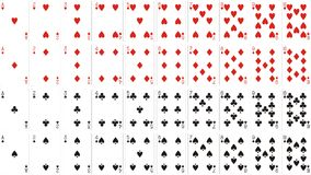 Playing cards classic from one to ten 62x90 mm Royalty Free Stock Image