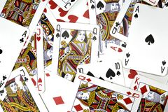 Playing cards. Close up view at playing cards stock image