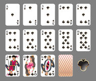 Playing cards - club suit Royalty Free Stock Photography