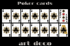 Playing cards club suit. Poker cards in the art deco style. Royalty Free Stock Photos