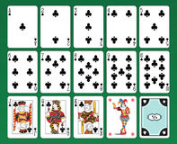 Playing cards of Clubs Royalty Free Stock Images