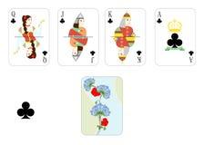 Playing cards clubs Stock Photos