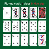 Playing cards. Clubs. Bridge size Stock Images