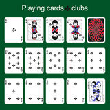 Playing cards. Clubs Stock Image