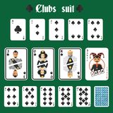 Playing cards clubs set. Playing cards clubs suit set joker and back isolated vector illustration Royalty Free Stock Image
