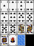 Playing cards - the clubs suit. Classic playing cards on black background: clubs suit Royalty Free Stock Image