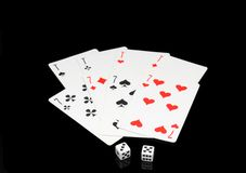 Playing cards on cololur broadcloth. Stock Images