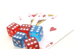Playing cards and color dices Royalty Free Stock Images