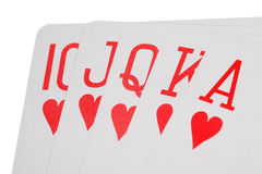 Playing cards of colour of hearts isolated Stock Photos