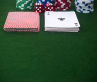 Playing cards cut Dice Poker chips Stock Photography