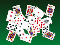 Playing cards on deck. Playing cards on green deck stock illustration