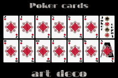 Playing cards diamond suit. Poker cards in the art deco style. Stock Photos