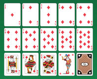 Playing cards of Diamonds. Set of playing cards on green background. The figures are original design as well as the jolly, the ace of spades and the back card Stock Photos