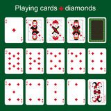 Playing cards. Diamonds Stock Photos