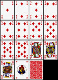 Playing cards - the diamonds suit Stock Photos