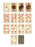 Playing cards of Diamonds suit in vintage style isolated on whit Stock Images