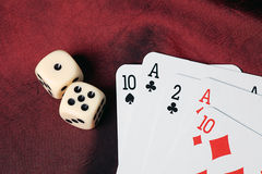 Playing cards and dice Royalty Free Stock Images