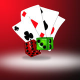 Playing Cards and Dice. Playing cards and glass look dice against a gradient background Stock Photos