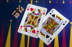 Playing Cards & Dice in Casino Stock Photography